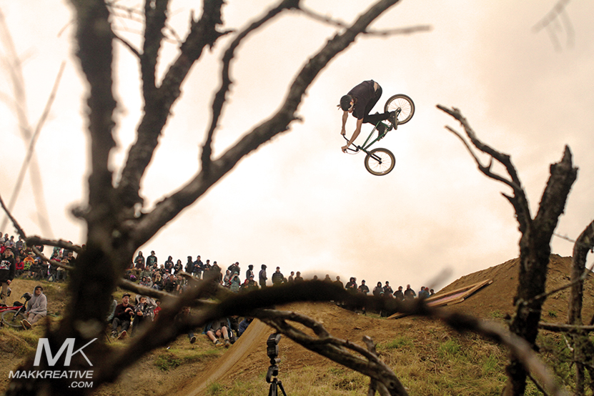 Taupo's Joe Simpson, dumped 360 through the trees.